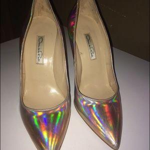Oscar de la renta holographic heels 37 very RARE!!